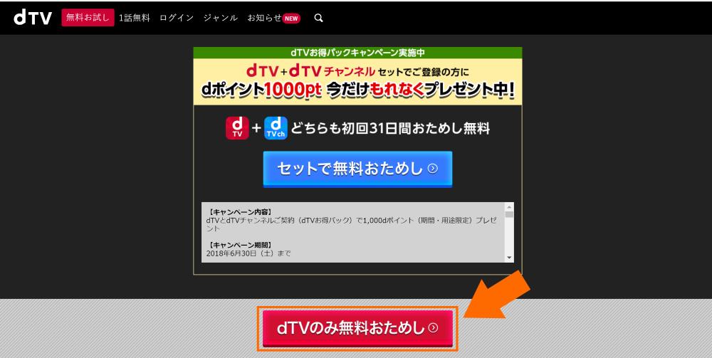 「dTVのみ無料おためし」をクリック