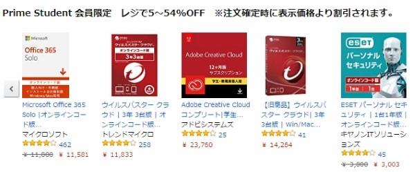対象ソフトウェアが割引価格で購入できる