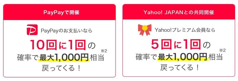 最大1,000円相当が戻ってくる「やたら当たるくじ」も同時開催!