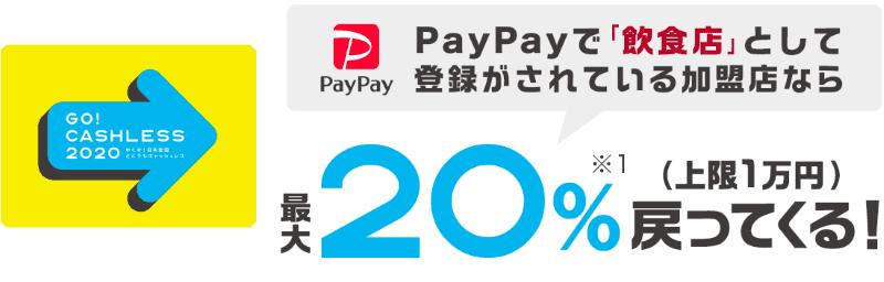【PayPay】対象の飲食店での支払いが最大20%還元
