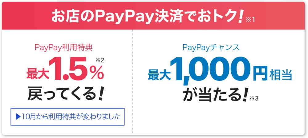 PayPayでの決済がいつでも最大1.5%還元
