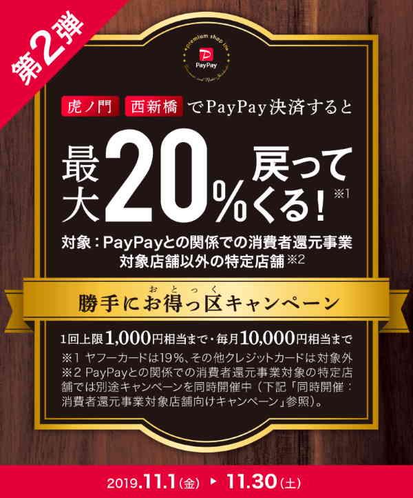 【11月】虎ノ門・西新橋で最大20%戻ってくる
