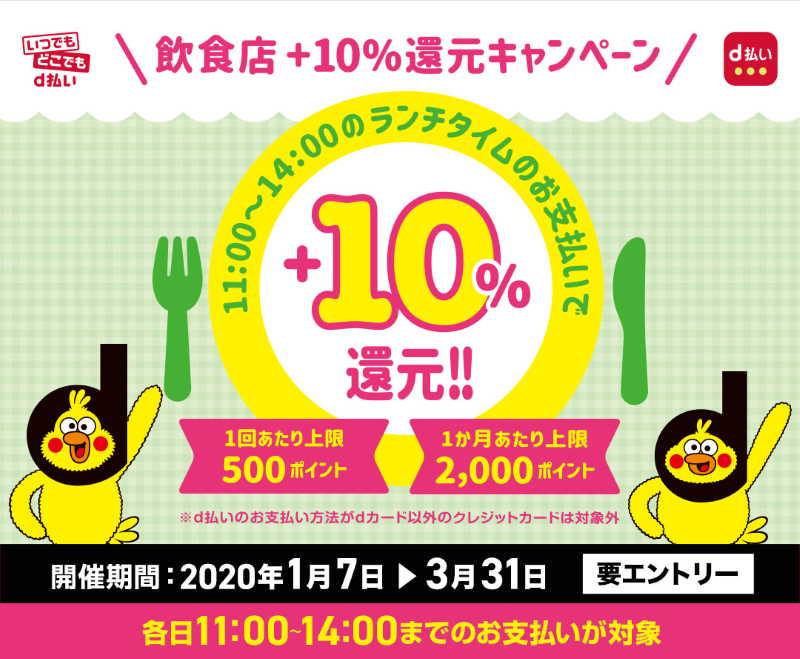 【d払い】飲食店+10%還元キャンペーン(1/7~3/31)