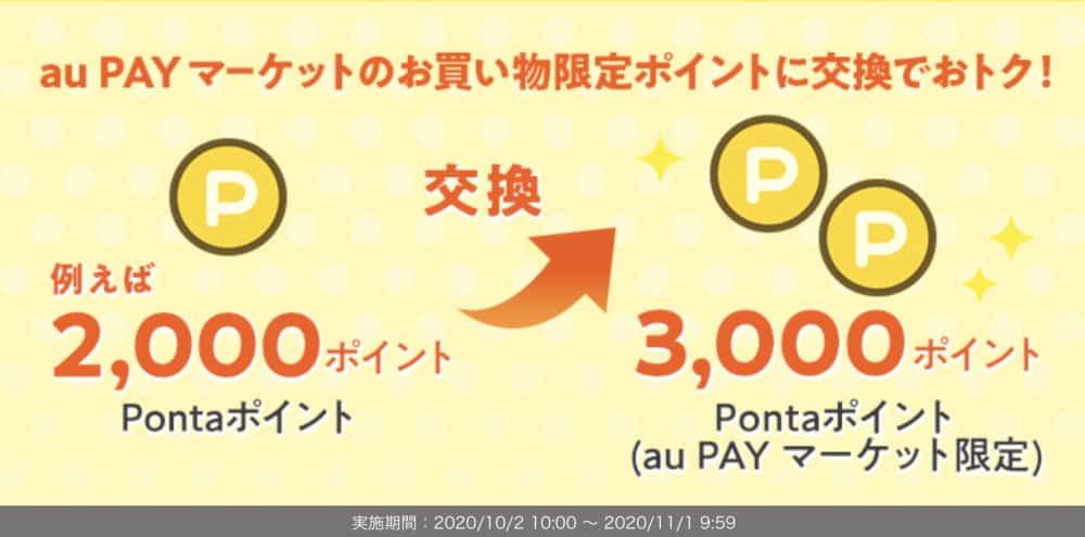 1.au PAYマーケット限定ポイント増量キャンペーンで交換しておく