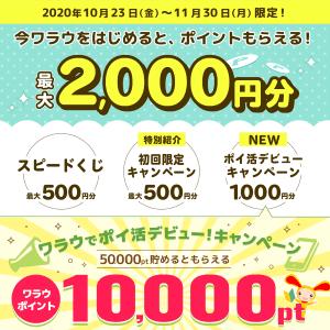 【最大2,000円相当】新規登録者向けキャンペーン詳細